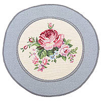 Салфетка-подкладка гобеленовая круглая цветы цветочный узор розы Ø30 см