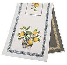 Наперон гобеленовый тканевый дорожка на стол раннер лимоны 45 х 140 см