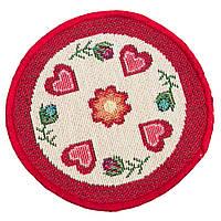 Салфетка-подкладка гобеленовая круглая цветы цветочный узор сердечки Ø10 см