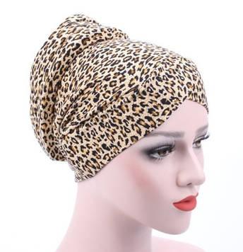 Удобная красивая чалма леопардовый принт бежевая