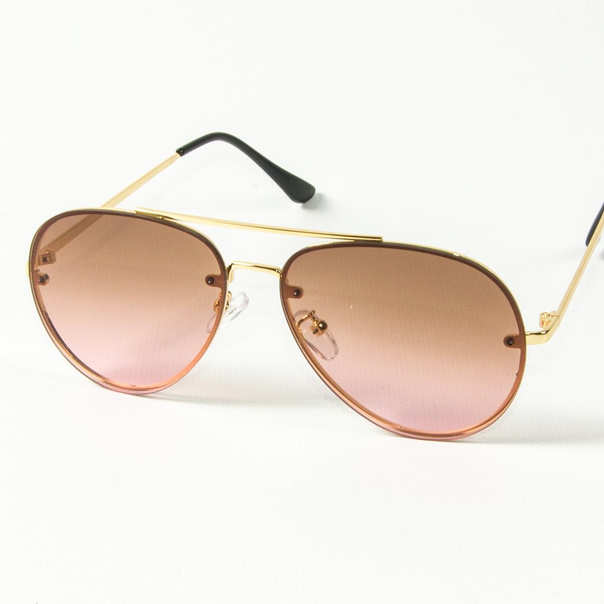 Оптом солнцезащитные очки авиатор (арт. 80-665/4) светло-коричневые