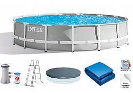 Бассейн каркасный INTEX 26724, 457-107 см, фильтр-насос, лестница, подстилка, тент