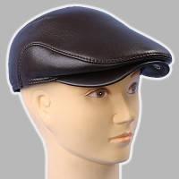 Мужская кепка коричневая из натур кожи реглан 59