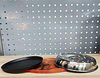 Тебан чугунный круглый с крышкой на деревянной подставке
