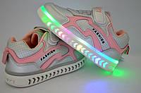 Кроссовки для девочки с LED подсветкой на подошве стелька кожаная с супинатором внутри текстильный подклад