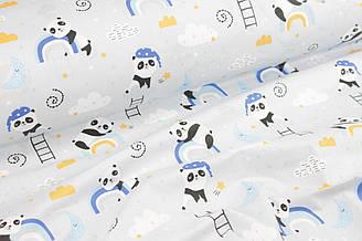 """Ткань хлопковая """"Спящие панды на радуге"""" на светло-сером фоне №977"""