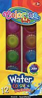 Краски акварельные большие таблетки 12 цветов COLORINO, 41089PTR