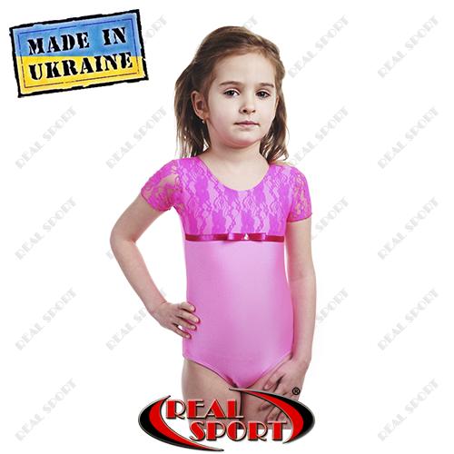 Купальник для танцев и гимнастики бифлекс с гипюром розовый. Коллекция осень-зима 2015/16
