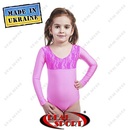 Купальник для танцев и гимнастики для выступлений, розовый RS GM030071 (бифлекс, р-р 56-72, рост 104-146см)
