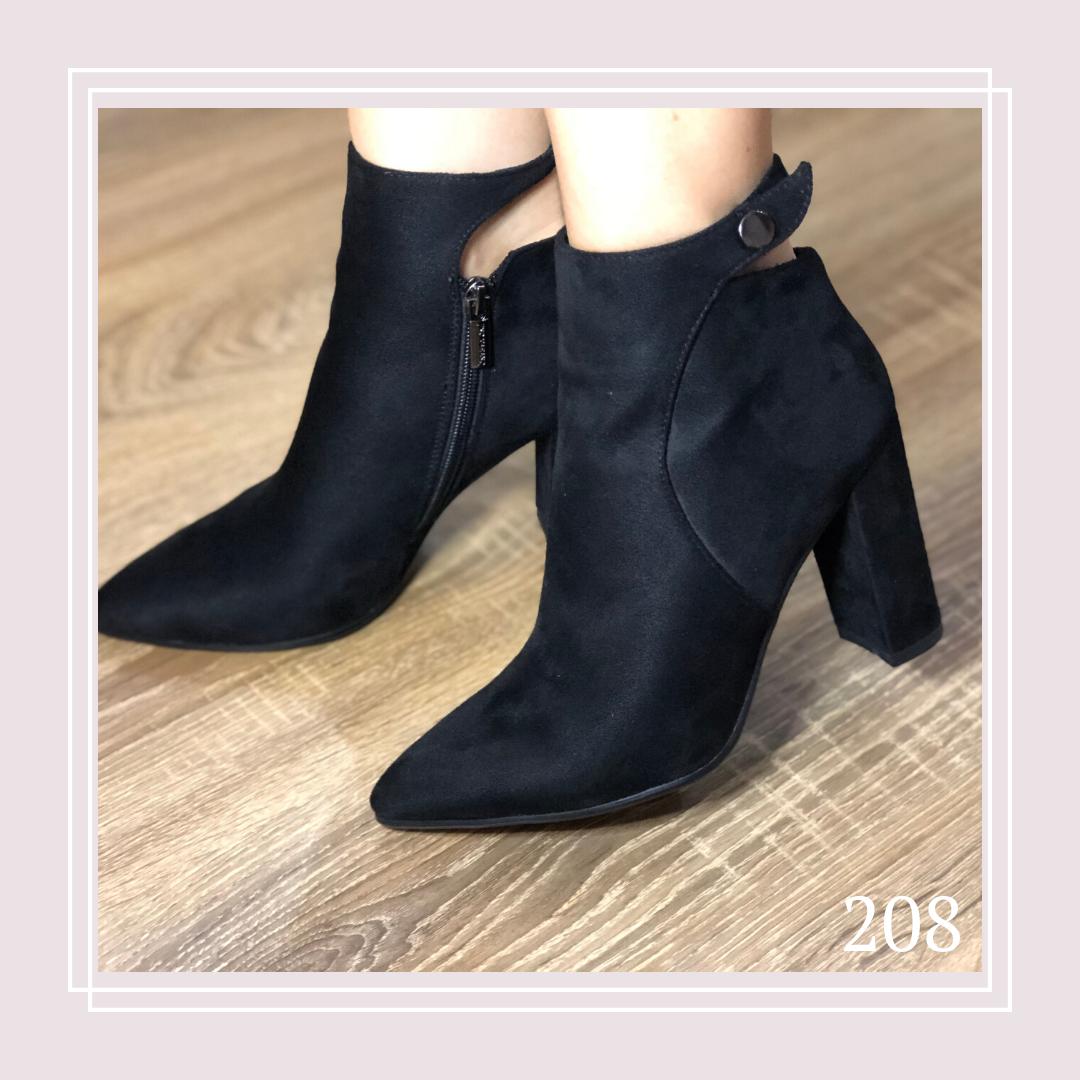 Женские демисезонные ботинки на устойчивом каблуке черная замша