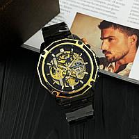 Часы мужские механические Forsining 8130 Black-Gold AB-1059-0014