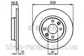 Диск тормозной невентилируемый 259 мм BOSCH 0 986 479 164
