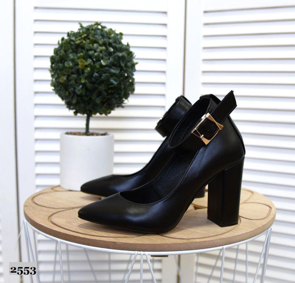 Кожаные туфли на устойчивом  каблуке 35-40 р чёрный