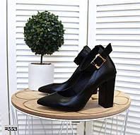 Кожаные туфли на устойчивом  каблуке 35-40 р чёрный, фото 1