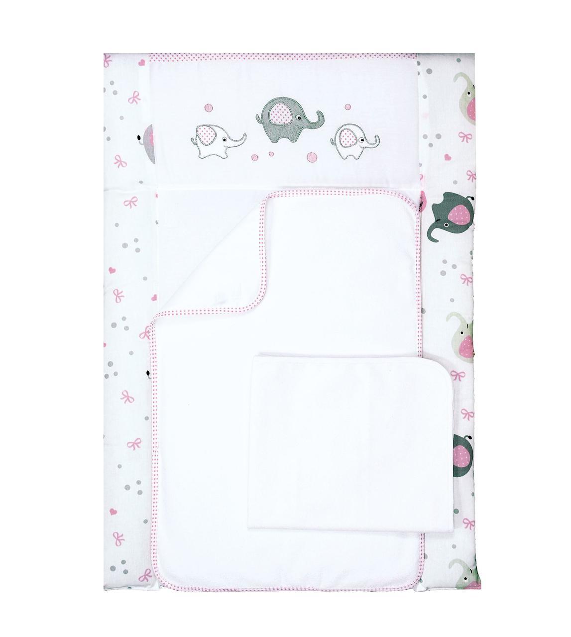 Пеленальный матрас для новорожденных тканевый Veres Elephant family pink