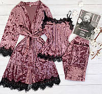Женская велюровая пижама штаны и майка S темно розовый, фото 1