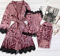 Женская велюровая пижама штаны и майка L темно розовый, фото 1