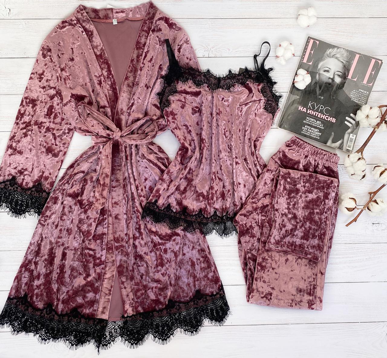 Женская велюровая пижама штаны и майка L темно розовый