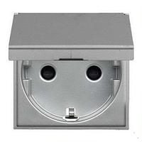 Розетка з заземленням, шторками і кришкою, сріблястий металік Zenit ABB NIESSEN N2288.1 PL, 2 модуля