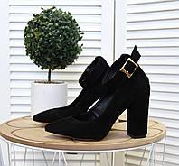 Замшевые туфли на устойчивом  каблуке 35-40 чёрный, фото 1