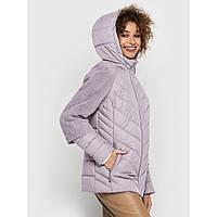 Молочная элегантная розовая курточка с капюшоном