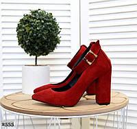 Замшевые туфли на устойчивом  каблуке 35-40 красный, фото 1