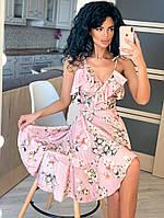 Ассиметричное платье на запах с экзотическим и нежным принтом.