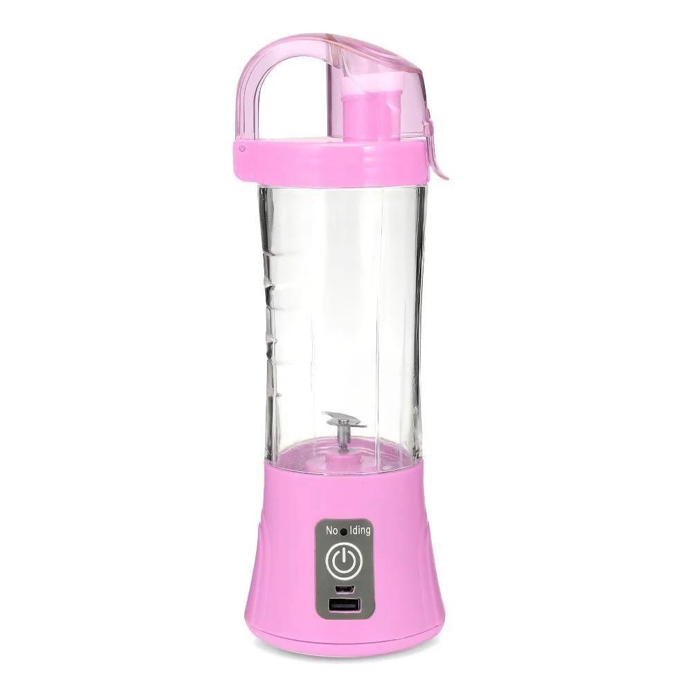 Портативный фитнес блендер для смузи и коктейлей с бутылкой Ollipin аккумуляторный USB шейкер Розовый