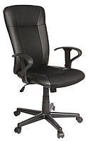 Кресло офисное на колесиках черное кожаное с ручками, фото 1