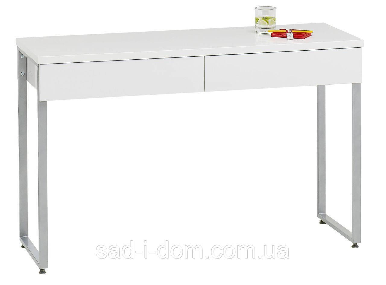 Столик стильный офисный компьютерный белый глянец + 2 ящика