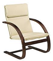 Кресло бежевое (лакированный березовый шпон + кож.зам)