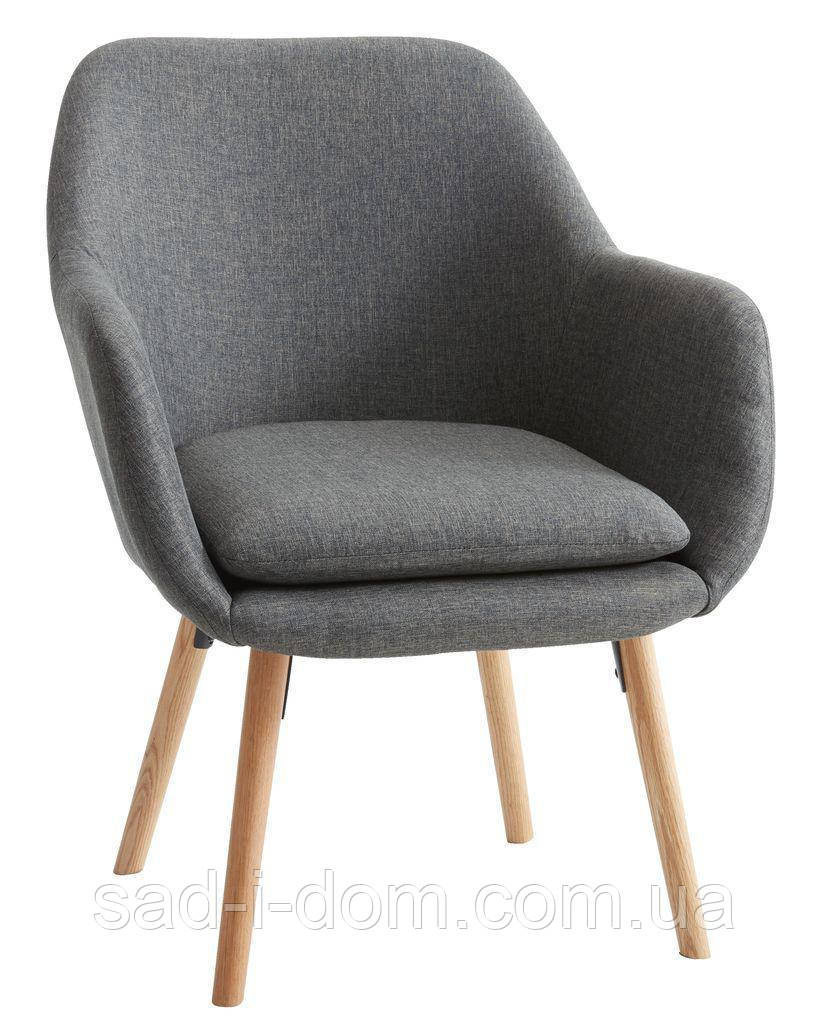 Стильное серое кресло тканевое