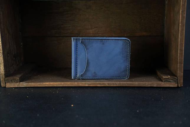 Зажим для денег Кожа Итальянский краст цвет Синий, фото 2