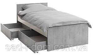 Кровать-кушетка 90x200 бетон / белый с коробом для белья
