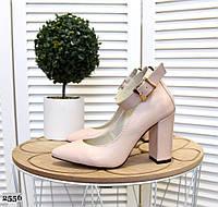 Кожаные туфли на устойчивом  каблуке 35-40 р пудра, фото 1