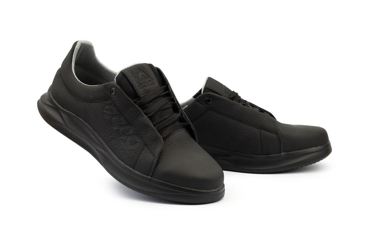 Мужские кроссовки кожаные весна/осень черные CrosSav 111