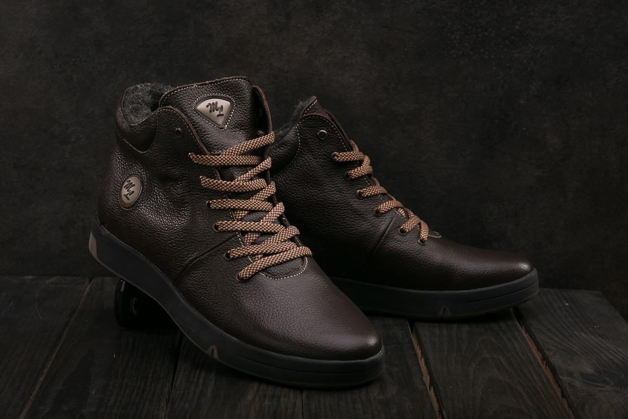 Мужские ботинки кожаные зимние коричневые Milord Olimp B