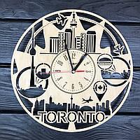 Круглые настенные часы из дерева «Канада, Торонто», фото 1