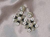 """Серьги (сережки) с кристаллами бижутерия, """"мальтийский"""" крест в нежных цветах"""