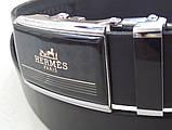 Брючний шкіряний чоловічий ремінь Hermes автомат, фото 2