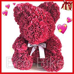 Мишка из исскуственных цветов 25 см с бантиком Бордовый Ручная работа оригинальный подарок на 8 Марта