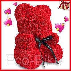 Мишка из исскуственных цветов 25 см с бантиком Красный Ручная работа оригинальный подарок на 8 Марта