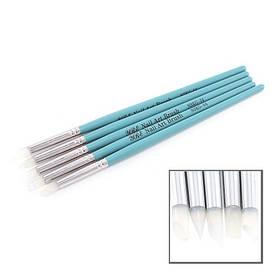 Набор кистей 5шт силиконовые, голубая ручка