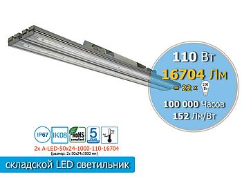 Светильник для спортивных залов с высокими потолками  LED 110Вт, 16704Лм, IP65 (аналог лампы ДРЛ 400Вт)