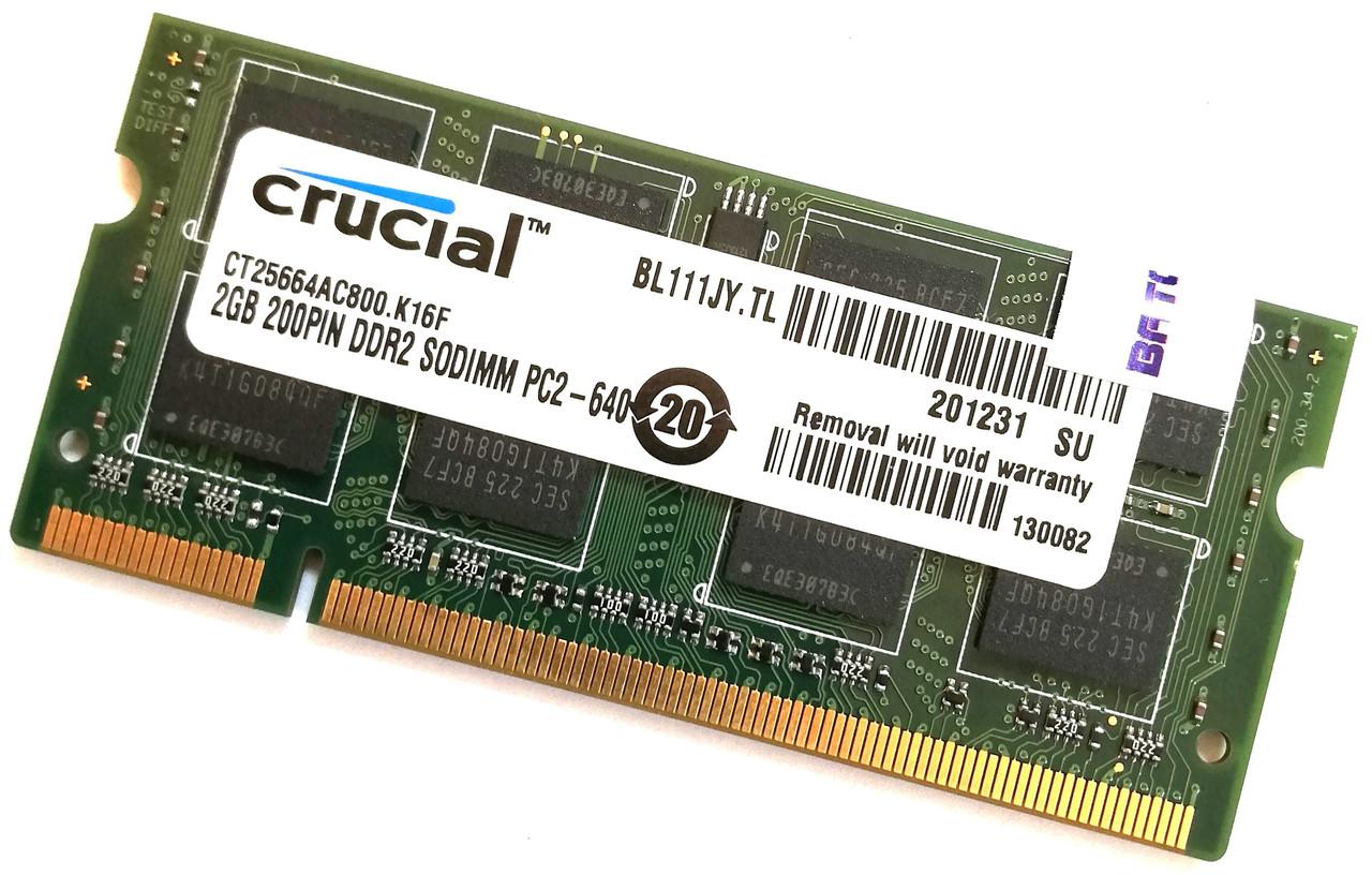 Оперативная память для ноутбука Crucial SODIMM DDR2 2Gb 800MHz 6400s CL6 (CT25664AC800.K16F) Б/У