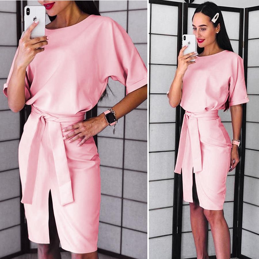 Розовое нарядное платье (Код MF-184)