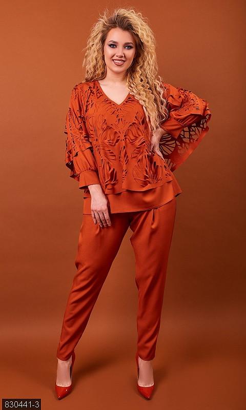 Костюм женский двойка, брюки, кофта, оранжевый 50,52,54,56