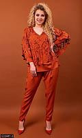 Костюм женский двойка, брюки, кофта, оранжевый 50,52,54,56, фото 1