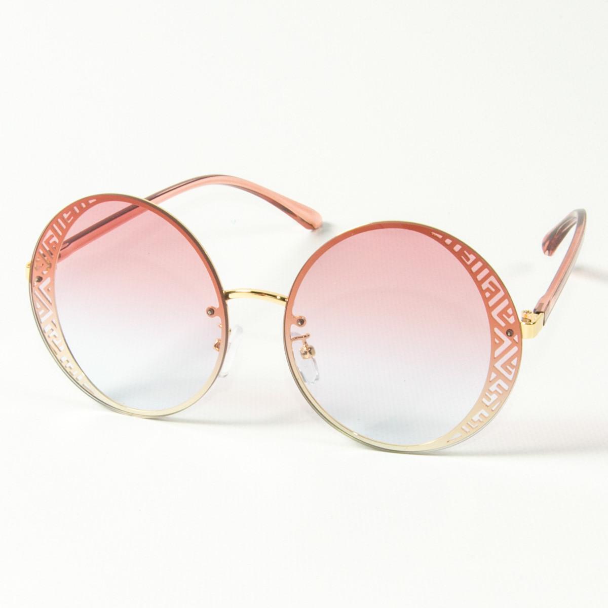 Оптом женские солнцезащитные круглые очки  (арт. 80-664/2) розовые