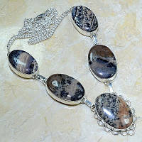 Серебряное ожерелье с дендрич. опалом